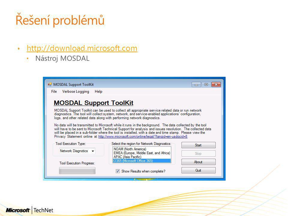 Řešení problémů • http://download.microsoft.com http://download.microsoft.com • Nástroj MOSDAL