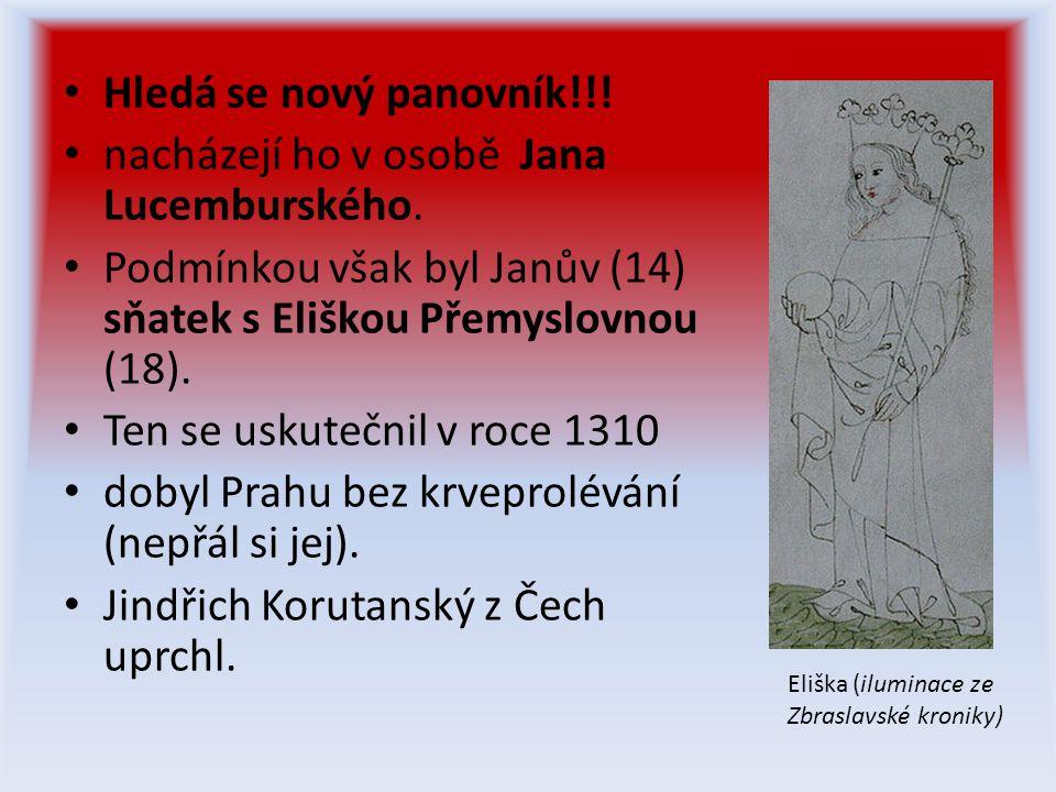 • Hledá se nový panovník!!.• nacházejí ho v osobě Jana Lucemburského.