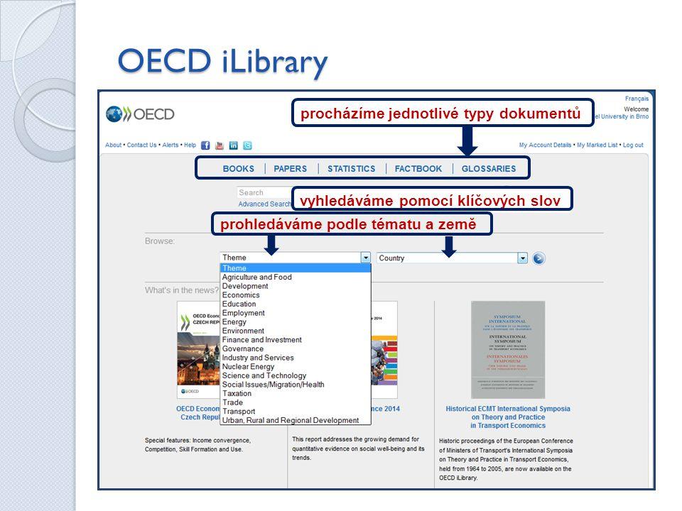 OECD iLibrary procházíme jednotlivé typy dokumentů vyhledáváme pomocí klíčových slov prohledáváme podle tématu a země