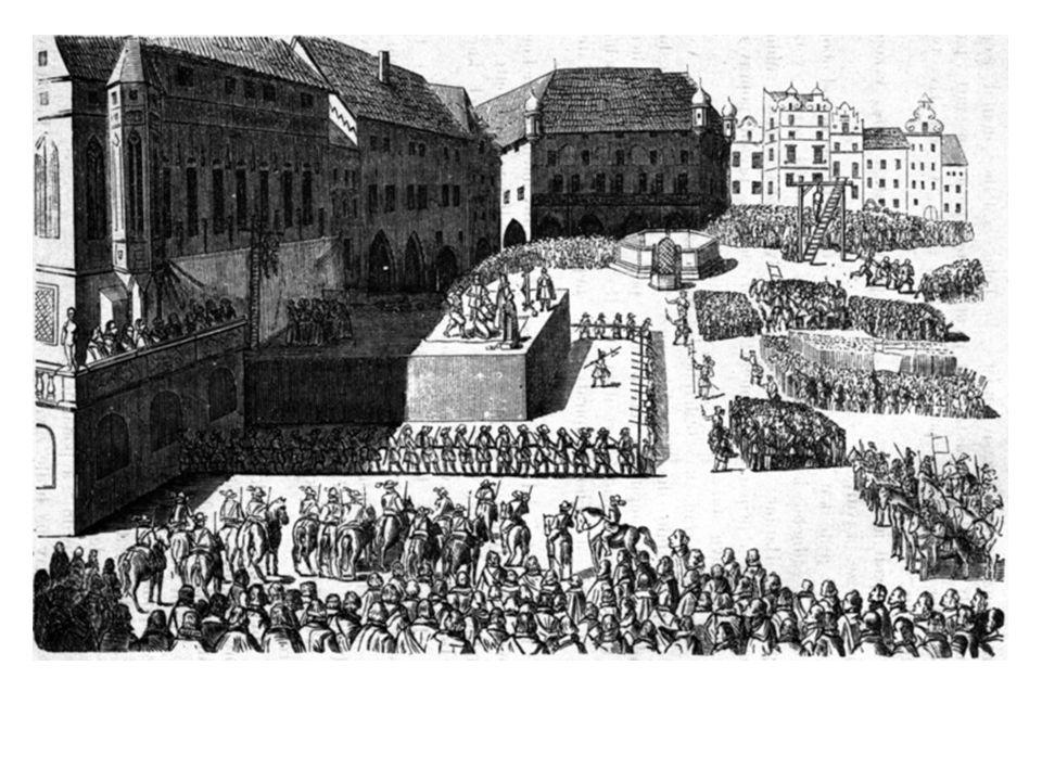 •P•Povstalci byli nemilosrdně potrestáni. •2•21. června 1621 bylo na Staroměstském náměstí v Praze popraveno 27 vůdců odboje. Z Čech byli vypuzeni nek