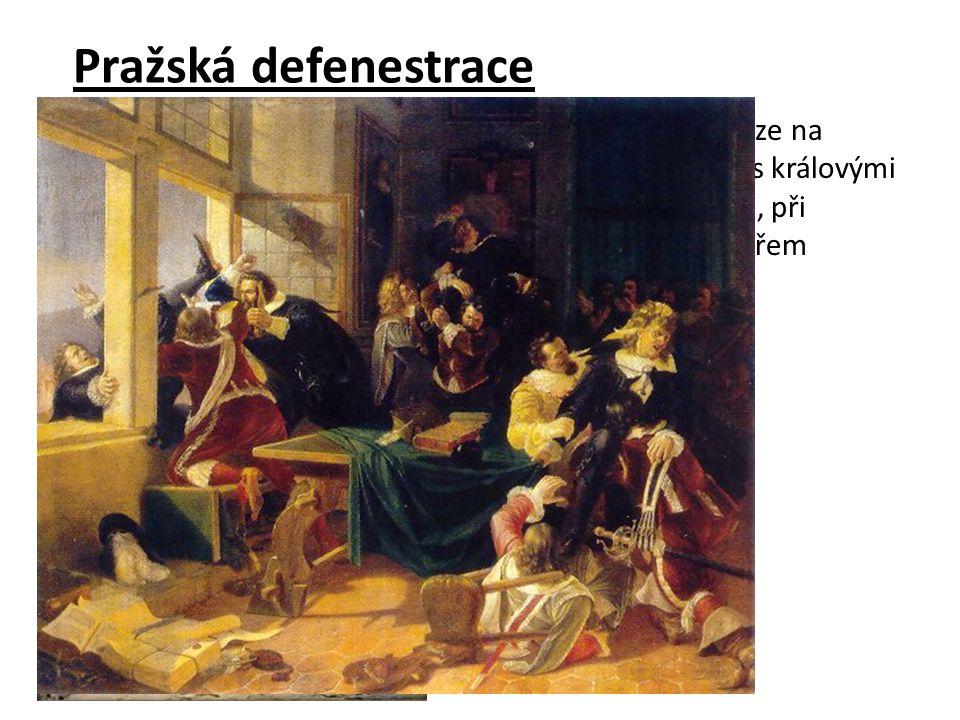 Čeští protestantští stavové se v květnu 1618 sešli v Praze na sněmu. Vyslali své zástupce na Pražský hrad k jednání s královými místodržícími. Při jed