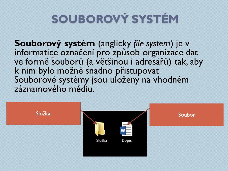 SOUBOROVÝ SYSTÉM Souborový systém (anglicky file system) je v informatice označení pro způsob organizace dat ve formě souborů (a většinou i adresářů)