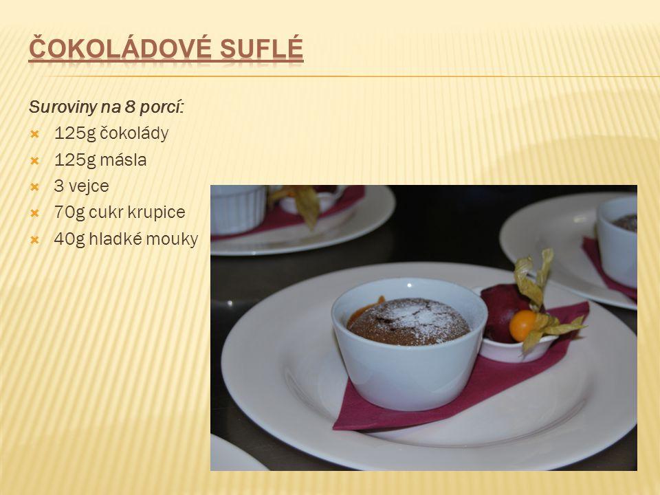 Suroviny na 8 porcí:  125g čokolády  125g másla  3 vejce  70g cukr krupice  40g hladké mouky
