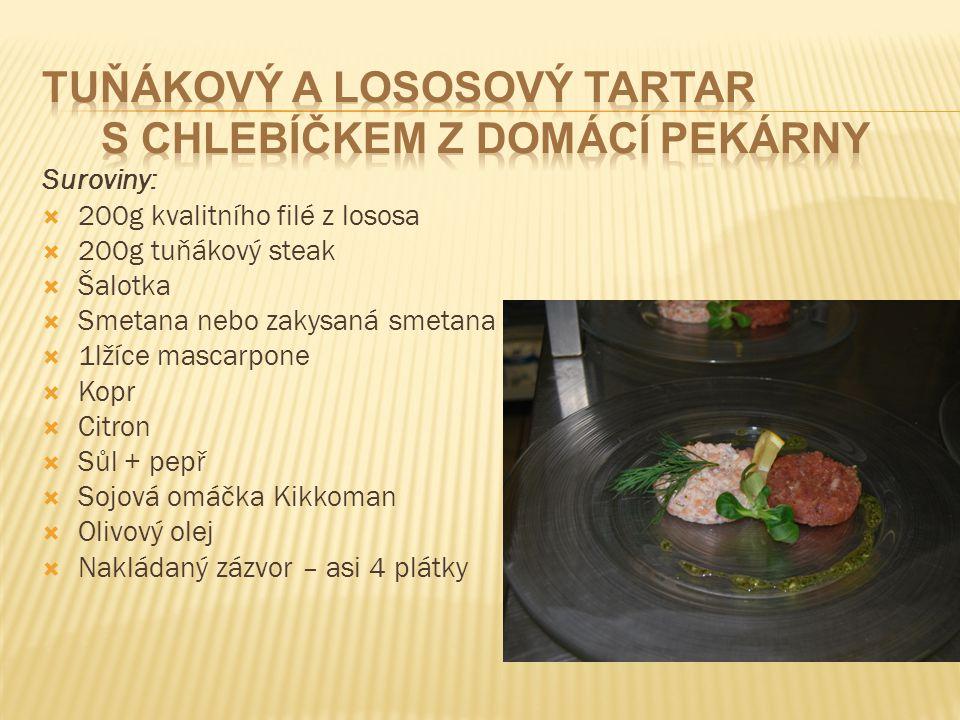 Suroviny:  200g kvalitního filé z lososa  200g tuňákový steak  Šalotka  Smetana nebo zakysaná smetana  1lžíce mascarpone  Kopr  Citron  Sůl +