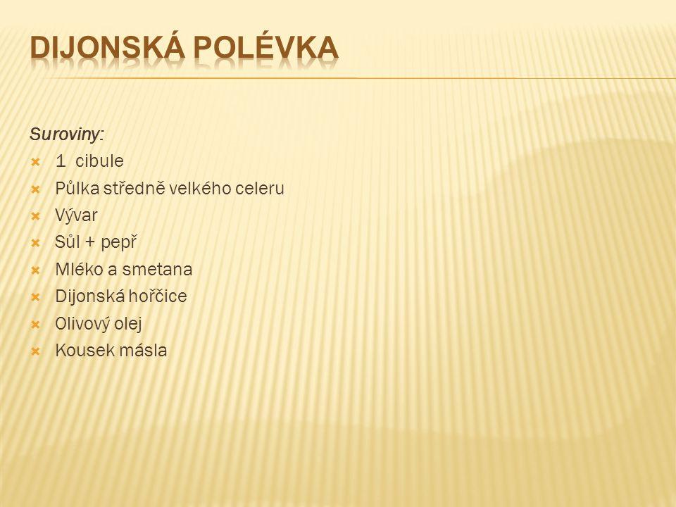 Suroviny:  1 cibule  Půlka středně velkého celeru  Vývar  Sůl + pepř  Mléko a smetana  Dijonská hořčice  Olivový olej  Kousek másla