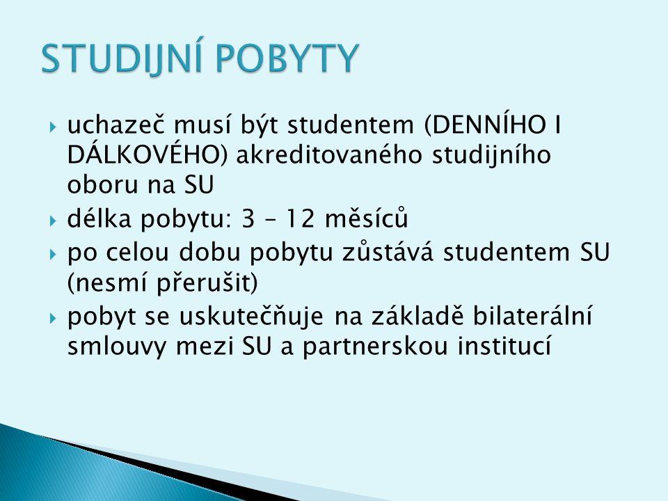  prostudovat webové stránky www.fpf.slu.cz (odkaz zahraniční styky, odkaz Erasmus)www.fpf.slu.cz  přihlásit se k výběrovému řízení příslušného ústavu (vybraná univerzita, CV, motivace k pobytu, studijní plán - informace na sekretariátech )  po úspěšném absolvování výb.řízení na ústavu se dostavit na Oddělení vědy a zahraničních styků FPF SU