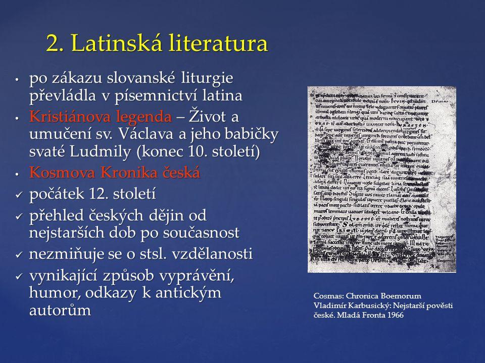 2. Latinská literatura • po zákazu slovanské liturgie převládla v písemnictví latina • Kristiánova legenda – Život a umučení sv. Václava a jeho babičk