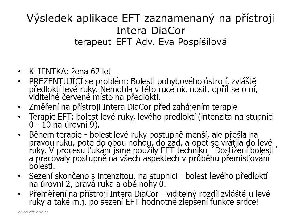 www.eft-ahc.cz Výsledek aplikace EFT zaznamenaný na přístroji Intera DiaCor terapeut EFT Adv. Eva Pospíšilová • KLIENTKA: žena 62 let • PREZENTUJÍCÍ s