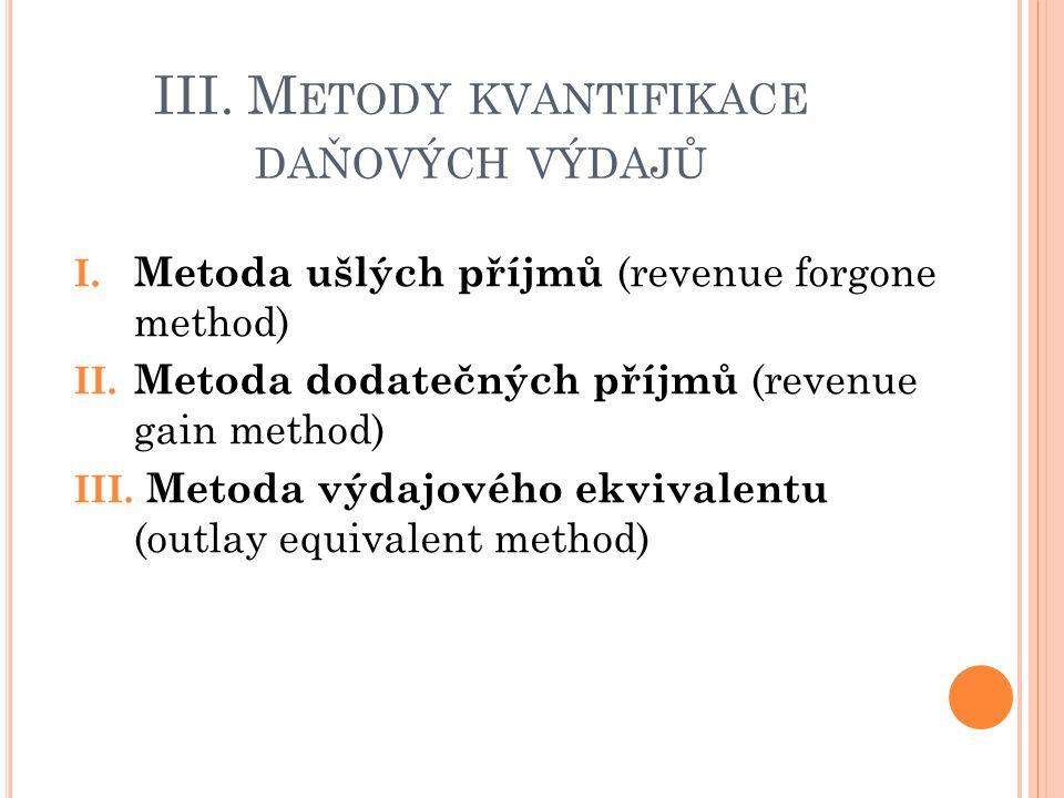 III.M ETODY KVANTIFIKACE DAŇOVÝCH VÝDAJŮ 1.