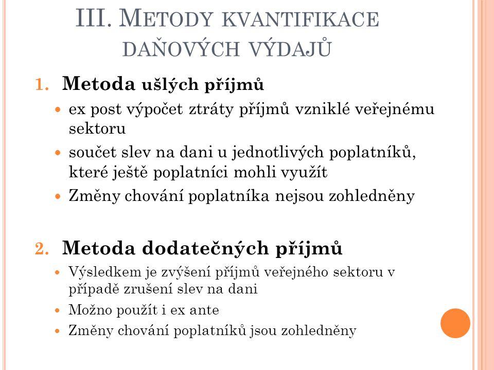 III.M ETODY KVANTIFIKACE DAŇOVÝCH VÝDAJŮ 3.