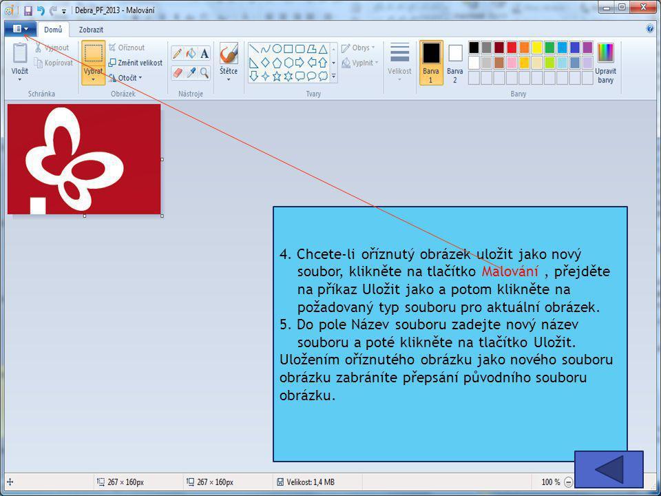 4. Chcete-li oříznutý obrázek uložit jako nový soubor, klikněte na tlačítko Malování, přejděte na příkaz Uložit jako a potom klikněte na požadovaný ty