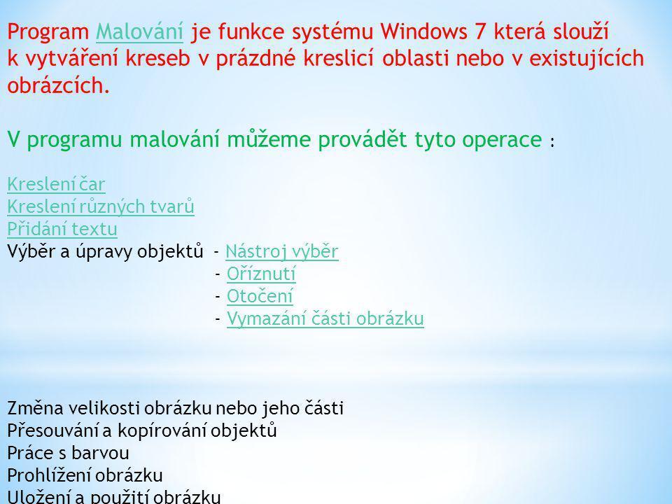 Program Malování je funkce systému Windows 7 která slouží k vytváření kreseb v prázdné kreslicí oblasti nebo v existujících obrázcích. V programu malo