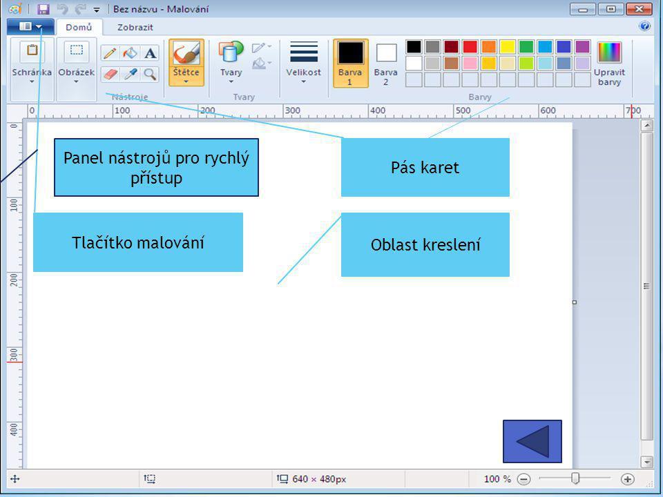 Oblast kreslení Tlačítko malování Pás karet Panel nástrojů pro rychlý přístup