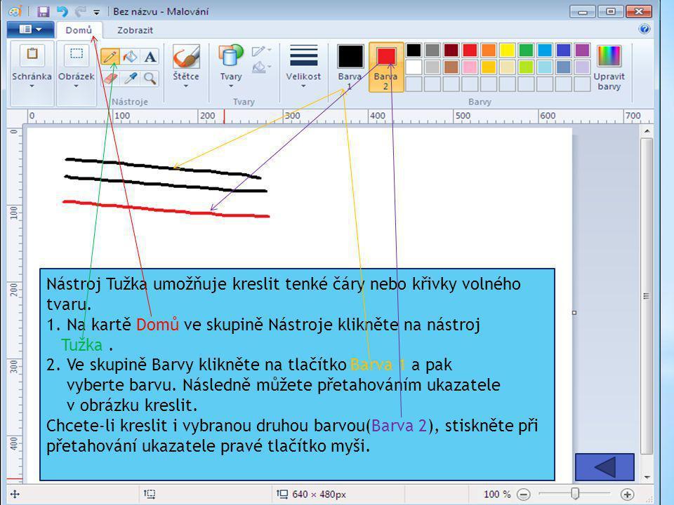 Nástroj Tužka umožňuje kreslit tenké čáry nebo křivky volného tvaru. 1. Na kartě Domů ve skupině Nástroje klikněte na nástroj Tužka. 2. Ve skupině Bar