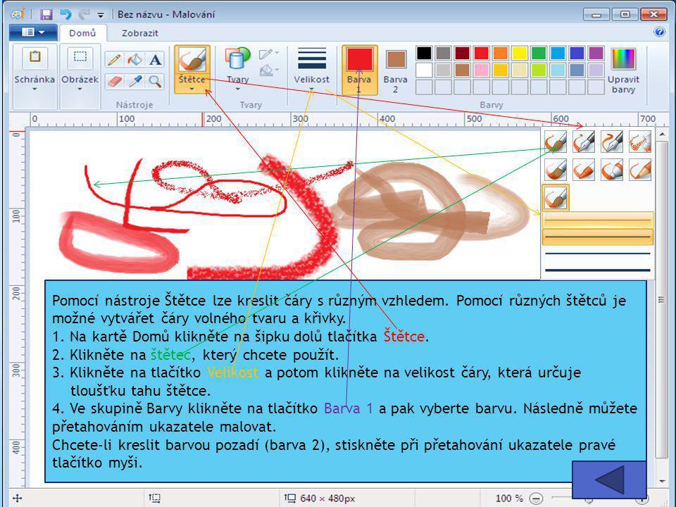 Pomocí nástroje Štětce lze kreslit čáry s různým vzhledem. Pomocí různých štětců je možné vytvářet čáry volného tvaru a křivky. 1. Na kartě Domů klikn