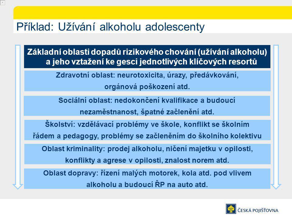 Příklad: Užívání alkoholu adolescenty Základní oblasti dopadů rizikového chování (užívání alkoholu) a jeho vztažení ke gesci jednotlivých klíčových resortů Zdravotní oblast: neurotoxicita, úrazy, předávkování, orgánová poškození atd.