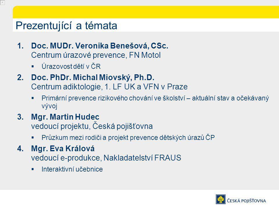 Mgr. Martin Hudec Vedoucí projektu, Česká pojišťovna Průzkum České pojišťovny