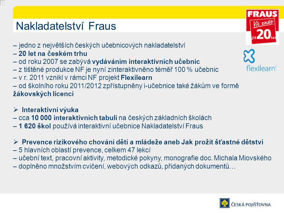 Nakladatelství Fraus – jedno z největších českých učebnicových nakladatelství – 20 let na českém trhu – od roku 2007 se zabývá vydáváním interaktivních učebnic – z tištěné produkce NF je nyní zinteraktivněno téměř 100 % učebnic – v r.