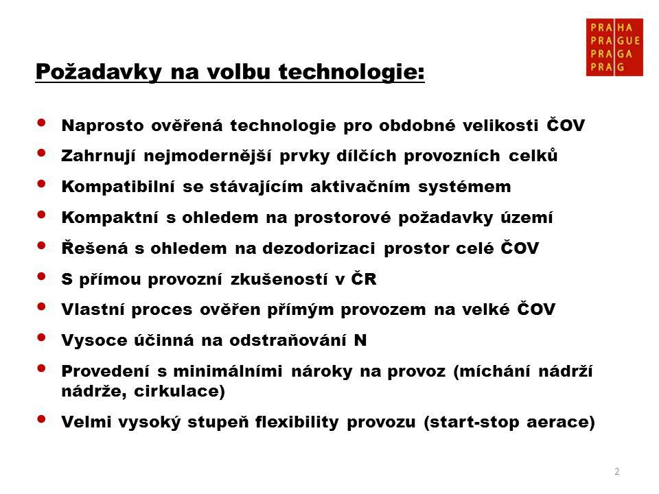 2 Požadavky na volbu technologie: • Naprosto ověřená technologie pro obdobné velikosti ČOV • Zahrnují nejmodernější prvky dílčích provozních celků • K