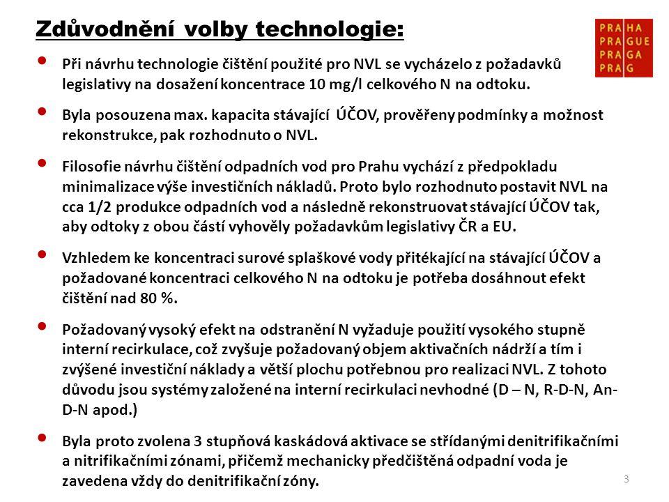 3 Zdůvodnění volby technologie: • Při návrhu technologie čištění použité pro NVL se vycházelo z požadavků legislativy na dosažení koncentrace 10 mg/l