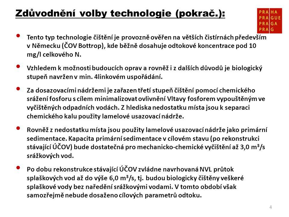 4 Zdůvodnění volby technologie (pokrač.): • Tento typ technologie čištění je provozně ověřen na větších čistírnách především v Německu (ČOV Bottrop),