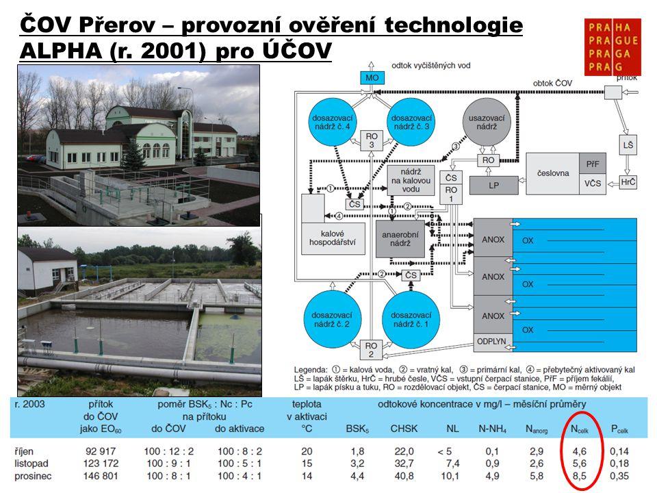 8 ČOV Přerov – provozní ověření technologie ALPHA (r. 2001) pro ÚČOV