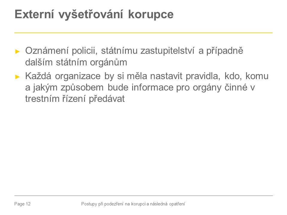 Page 12 Externí vyšetřování korupce ► Oznámení policii, státnímu zastupitelství a případně dalším státním orgánům ► Každá organizace by si měla nastav