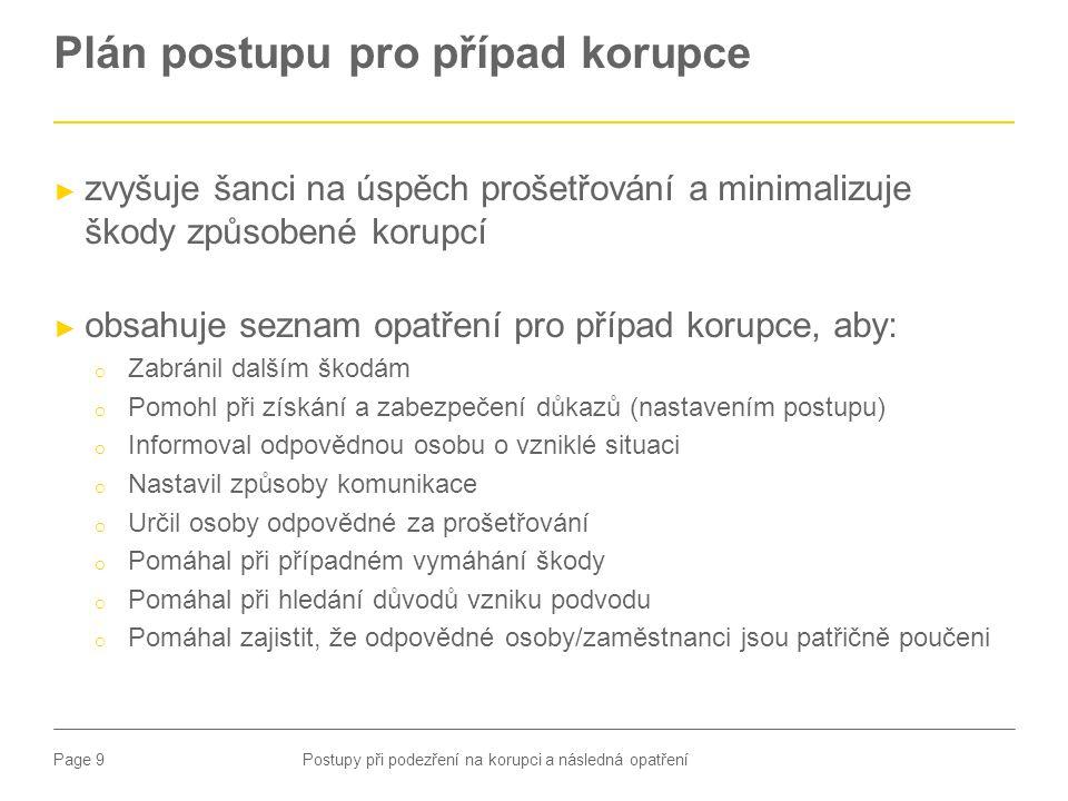 Page 9 Plán postupu pro případ korupce Postupy při podezření na korupci a následná opatření ► zvyšuje šanci na úspěch prošetřování a minimalizuje škod