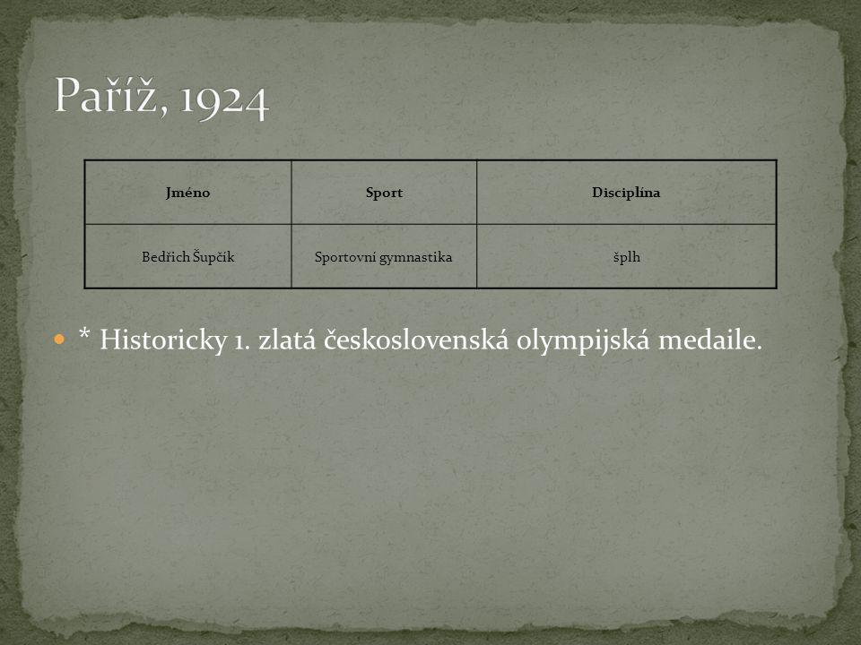  * Historicky 1. zlatá československá olympijská medaile. JménoSportDisciplína Bedřich ŠupčíkSportovní gymnastikašplh