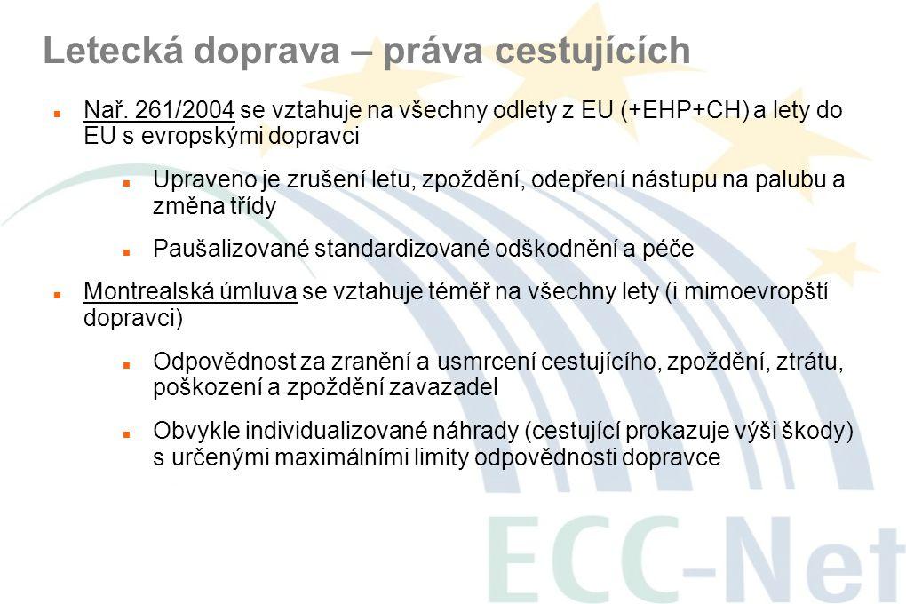 Letecká doprava – práva cestujících  Nař. 261/2004 se vztahuje na všechny odlety z EU (+EHP+CH) a lety do EU s evropskými dopravci  Upraveno je zruš