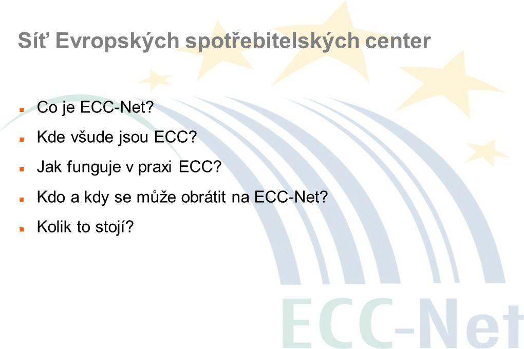 Síť Evropských spotřebitelských center  Co je ECC-Net?  Kde všude jsou ECC?  Jak funguje v praxi ECC?  Kdo a kdy se může obrátit na ECC-Net?  Kol
