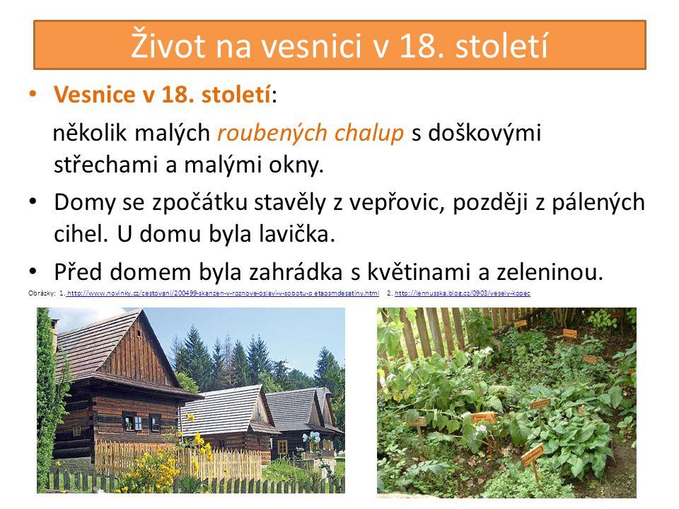 Život na vesnici v 18. století • Vesnice v 18. století: několik malých roubených chalup s doškovými střechami a malými okny. • Domy se zpočátku stavěl