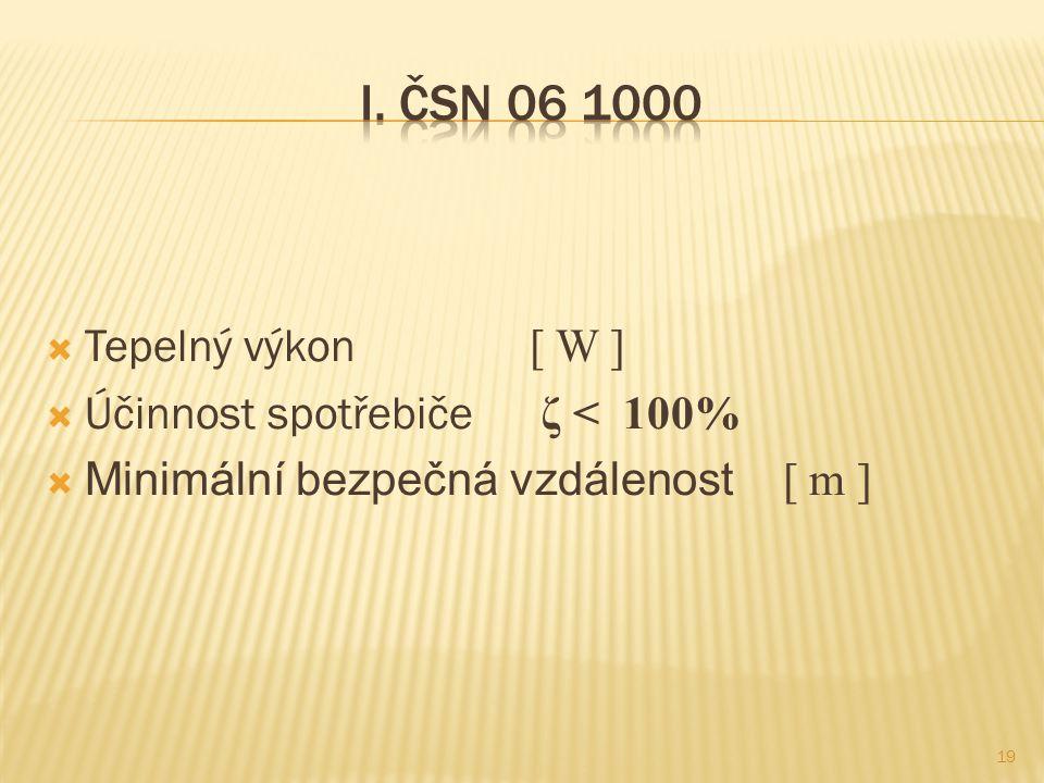  Tepelný výkon [ W ]  Účinnost spotřebiče ζ < 100%  Minimální bezpečná vzdálenost [ m ] 19