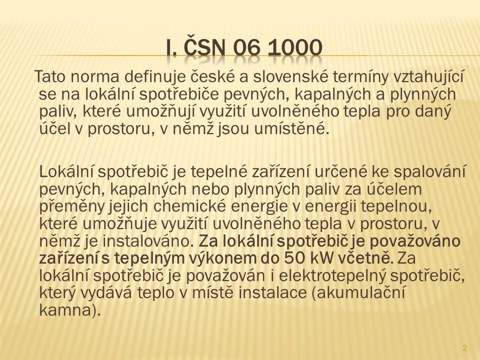 Tato norma definuje české a slovenské termíny vztahující se na lokální spotřebiče pevných, kapalných a plynných paliv, které umožňují využití uvolněné