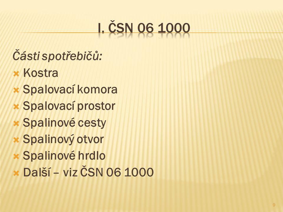 Části spotřebičů:  Kostra  Spalovací komora  Spalovací prostor  Spalinové cesty  Spalinový otvor  Spalinové hrdlo  Další – viz ČSN 06 1000 9