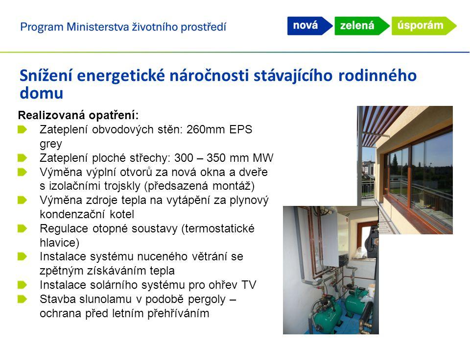 Snížení energetické náročnosti stávajícího rodinného domu Parametry domu po realizaci opatření: Měrná roční potřeba tepla na vytápění E A = 31 kWh/(m 2.rok) Náklady na vytápění: 8 000 Kč/rok Úspora provozních nákladů: cca 50 000 Kč/rok Zvýšení uživatelského komfortu a vnitřního prostředí Zlepšení vzhledu domu