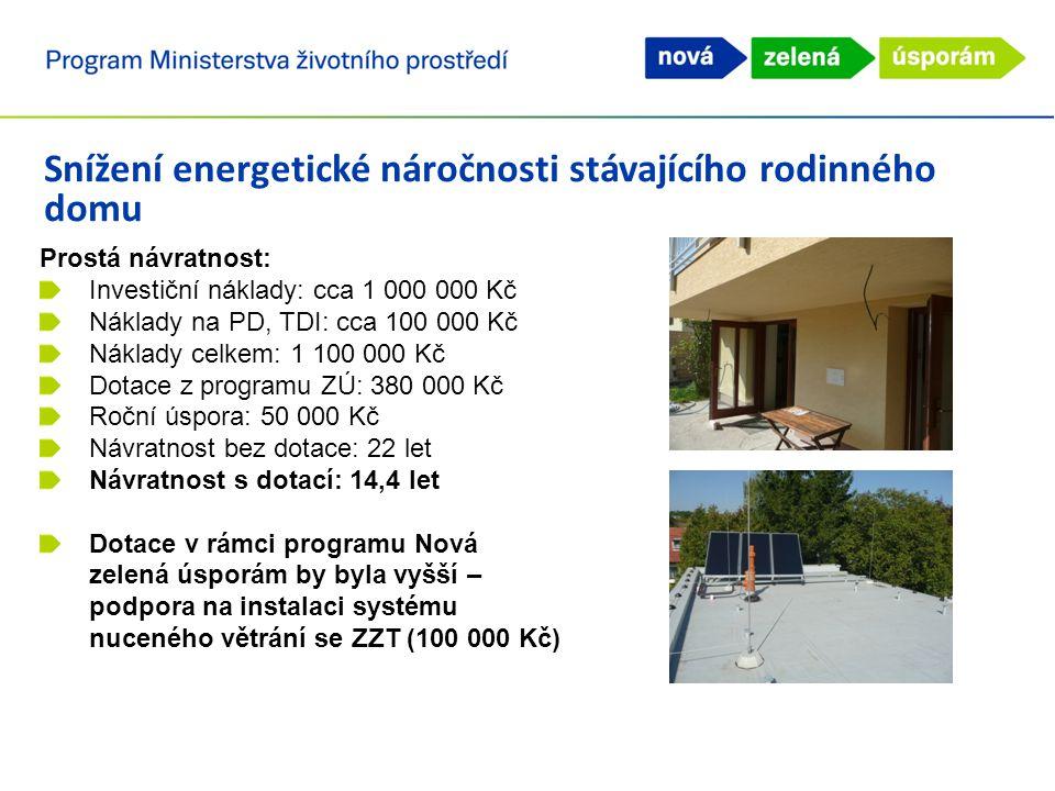 Snížení energetické náročnosti stávajícího rodinného domu Prostá návratnost: Investiční náklady: cca 1 000 000 Kč Náklady na PD, TDI: cca 100 000 Kč Náklady celkem: 1 100 000 Kč Dotace z programu ZÚ: 380 000 Kč Roční úspora: 50 000 Kč Návratnost bez dotace: 22 let Návratnost s dotací: 14,4 let Dotace v rámci programu Nová zelená úsporám by byla vyšší – podpora na instalaci systému nuceného větrání se ZZT (100 000 Kč)