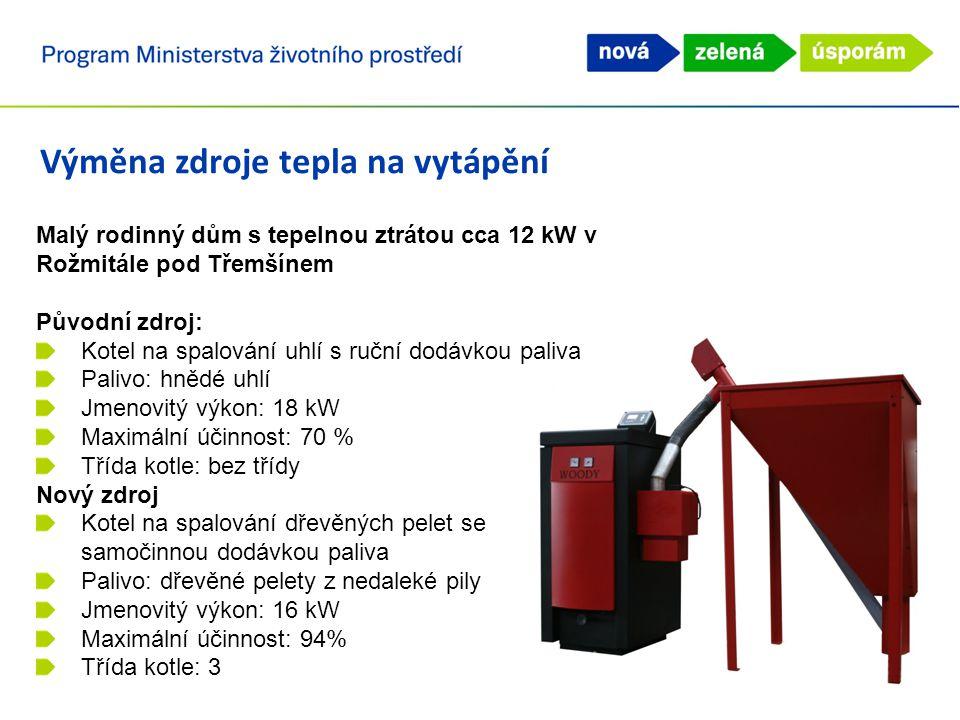 Výměna zdroje tepla na vytápění Malý rodinný dům s tepelnou ztrátou cca 12 kW v Rožmitále pod Třemšínem Původní zdroj: Kotel na spalování uhlí s ruční dodávkou paliva Palivo: hnědé uhlí Jmenovitý výkon: 18 kW Maximální účinnost: 70 % Třída kotle: bez třídy Nový zdroj Kotel na spalování dřevěných pelet se samočinnou dodávkou paliva Palivo: dřevěné pelety z nedaleké pily Jmenovitý výkon: 16 kW Maximální účinnost: 94% Třída kotle: 3