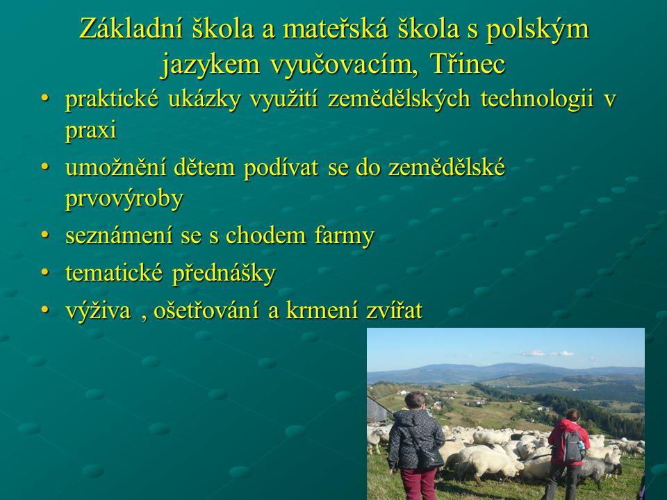 Základní škola a mateřská škola s polským jazykem vyučovacím, Třinec • praktické ukázky využití zemědělských technologii v praxi • umožnění dětem podí
