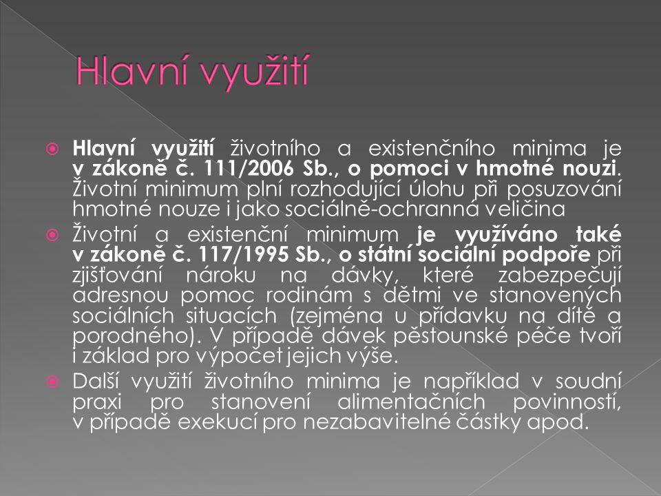  Hlavní využití životního a existenčního minima je v zákoně č. 111/2006 Sb., o pomoci v hmotné nouzi. Životní minimum plní rozhodující úlohu při posu