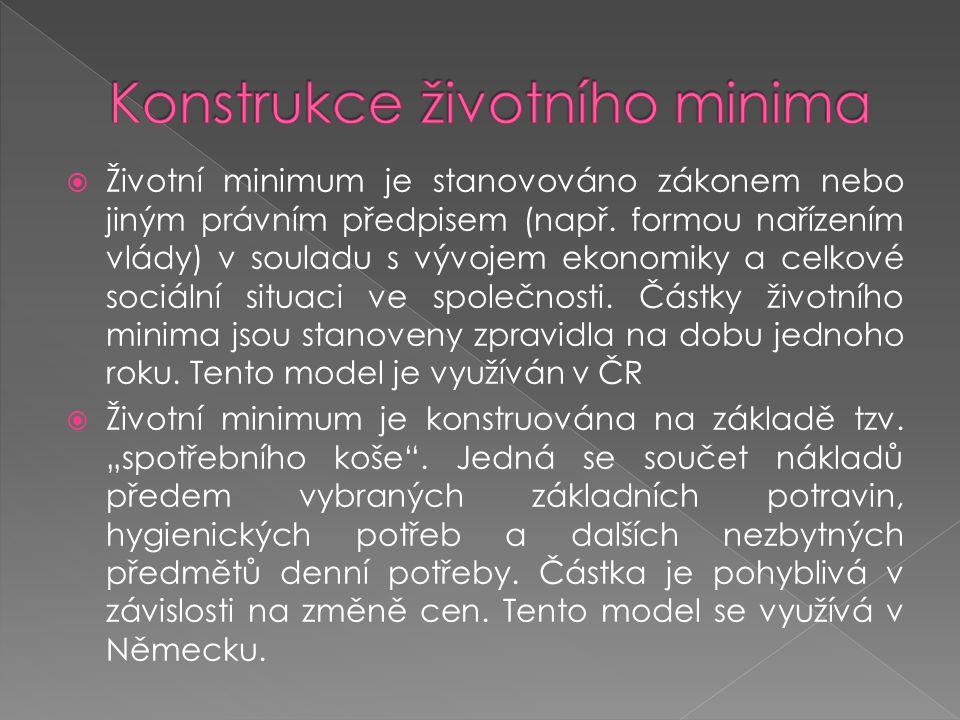  Životní minimum je stanovováno zákonem nebo jiným právním předpisem (např. formou nařízením vlády) v souladu s vývojem ekonomiky a celkové sociální