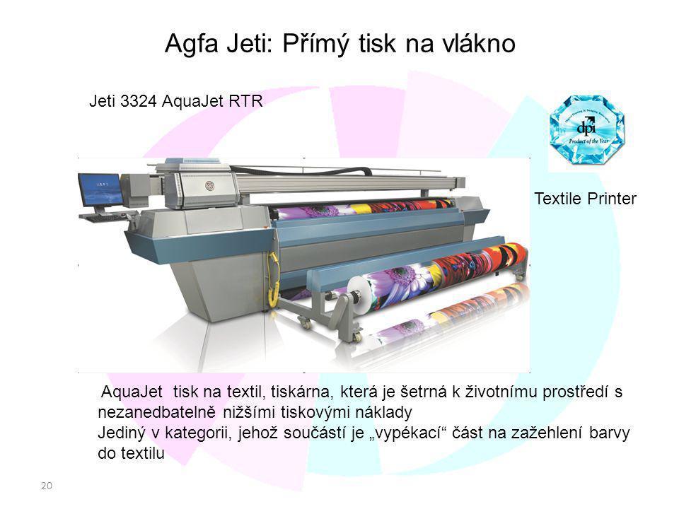 20 CONFDENTIALCONFDENTIAL Agfa Jeti: Přímý tisk na vlákno Jeti 3324 AquaJet RTR Best Textile Printer AquaJet tisk na textil, tiskárna, která je šetrná