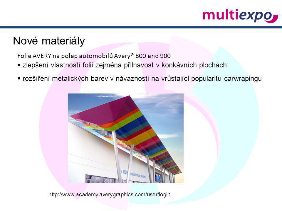 Folie AVERY na polep automobilů Avery® 800 and 900  zlepšení vlastností folií zejména přilnavost v konkávních plochách  rozšíření metalických barev