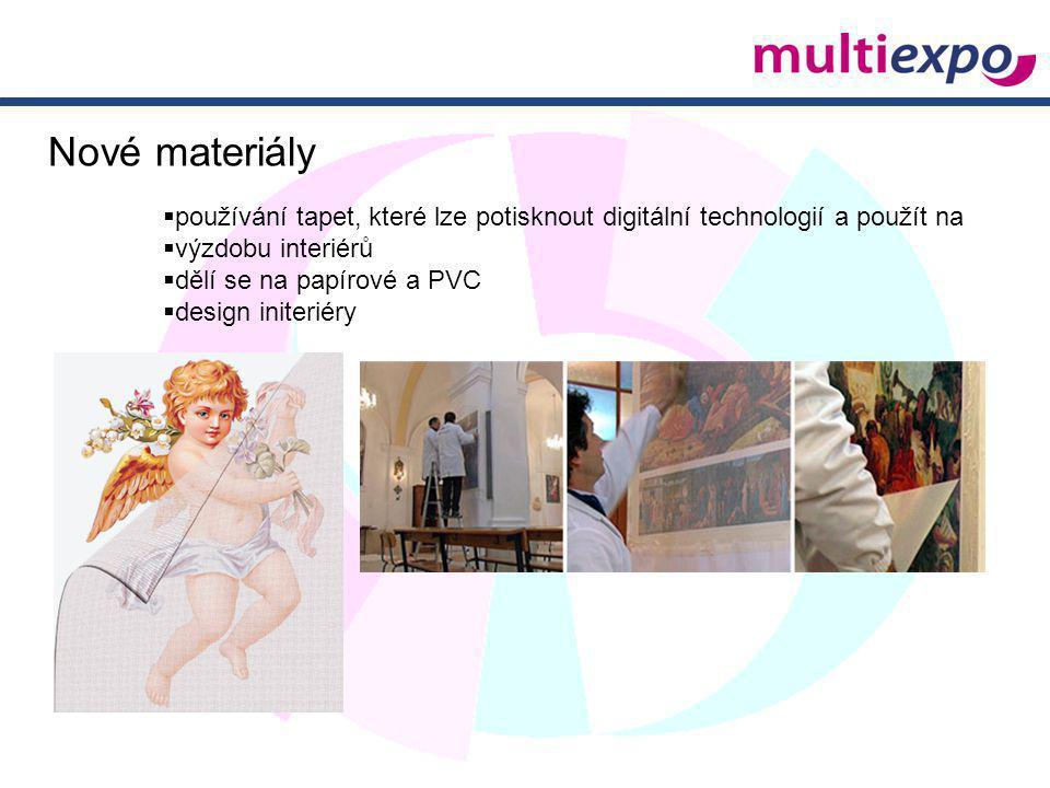 Nové materiály  používání tapet, které lze potisknout digitální technologií a použít na  výzdobu interiérů  dělí se na papírové a PVC  design init