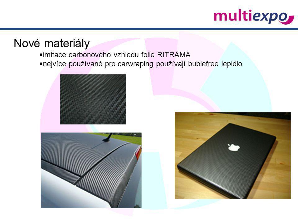 Nové materiály  imitace carbonového vzhledu folie RITRAMA  nejvíce používané pro carwraping používají bublefree lepidlo