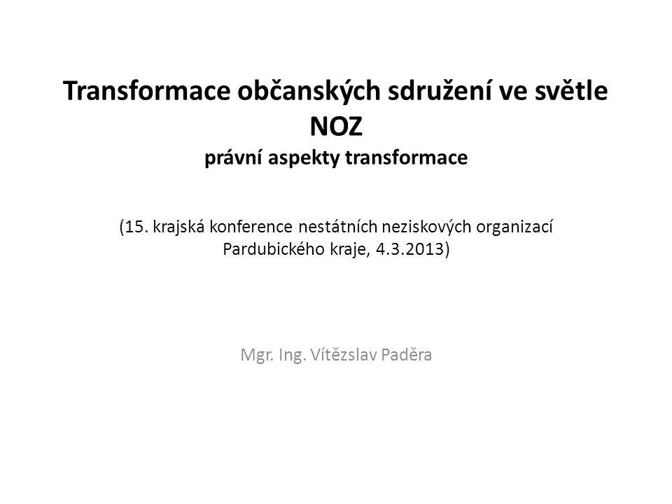 Obsah: • Současná úprava neziskových organizací v České republice • NOVÝ OBČANSKÝ ZÁKONÍK (NOZ) • Úprava občanských sdružení v NOZ • Přechodná ustanovení v NOZ • Korporace