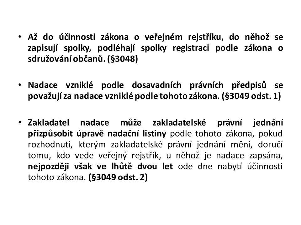 • Až do účinnosti zákona o veřejném rejstříku, do něhož se zapisují spolky, podléhají spolky registraci podle zákona o sdružování občanů. (§3048) • Na