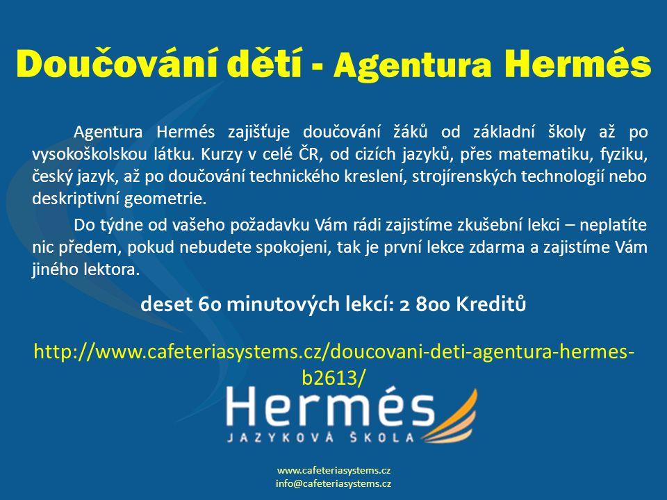 Doučování dětí - Agentura Hermés Agentura Hermés zajišťuje doučování žáků od základní školy až po vysokoškolskou látku.