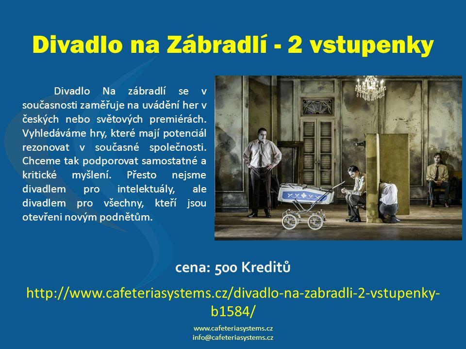 Divadlo na Zábradlí - 2 vstupenky Divadlo Na zábradlí se v současnosti zaměřuje na uvádění her v českých nebo světových premiérách.