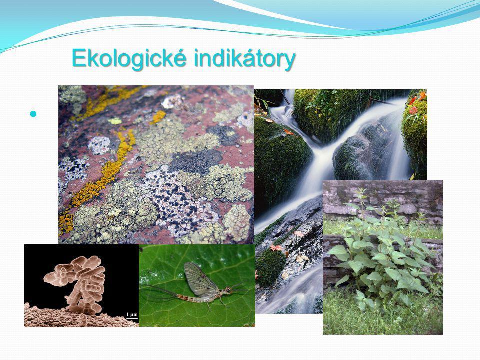 Ekologické indikátory = Bioindikátory  Bioindikátor je živý organismus, jehož přítomnost, změna stavu nebo množství signalizuje změny vlastností zkoumaného prostředí.